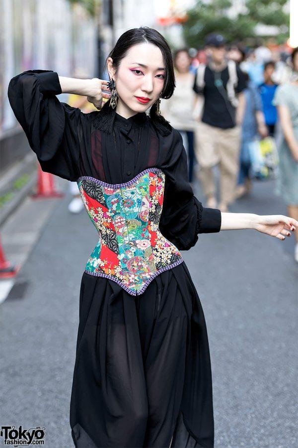 Colorful Corset Over Sheer Black Dress Tokyo Fashion News