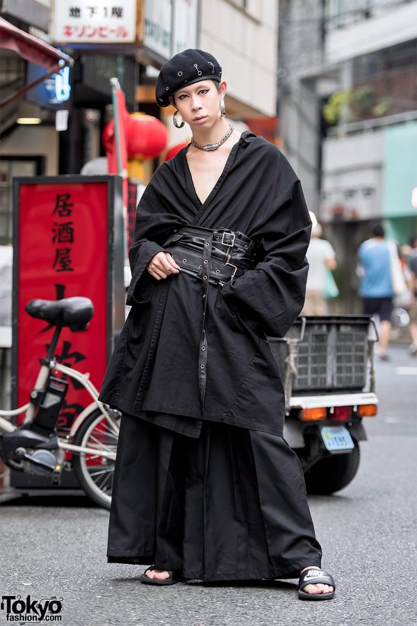 Japanese Fashion Designer w/ Gothic Kimono & Corset Street Style in Harajuku