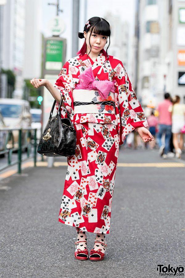 Harajuku Girl in Pretty Yukata, Vintage Obi, Vivienne Westwood Handbag & Mezzo Piano Wedges