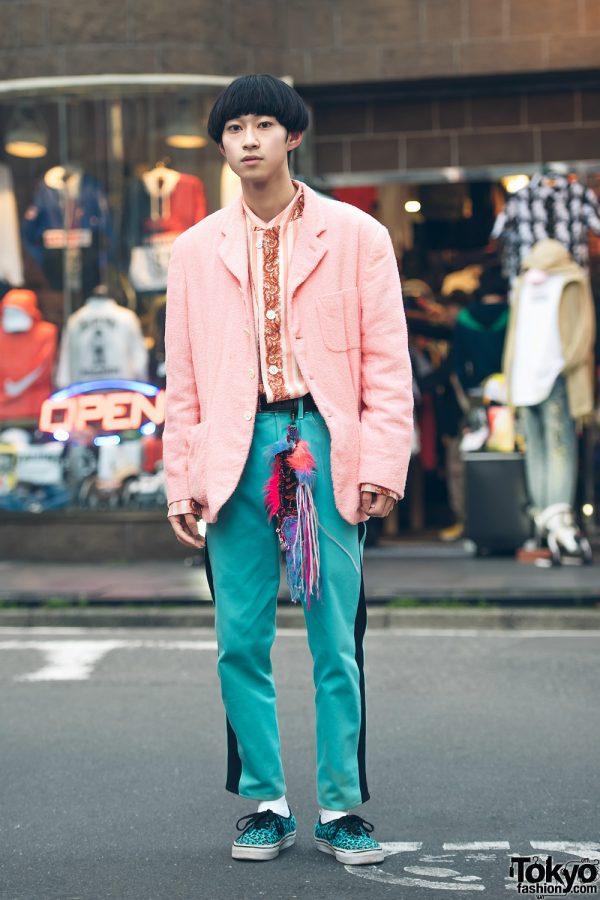 Pink & Teal Street Fashion in Harajuku w/ Comme des Garcons Homme Plus, John Galliano, Vans & Anti