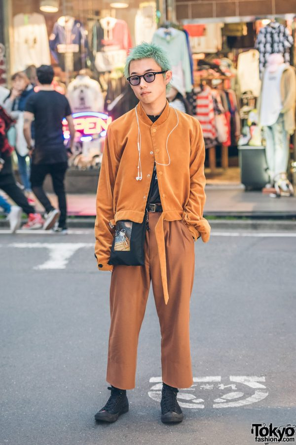Aqua-Haired Harajuku Guy in Cognac Streetwear w/ Bed J.W. Ford, Bukht, Undercover, Toga & Porter