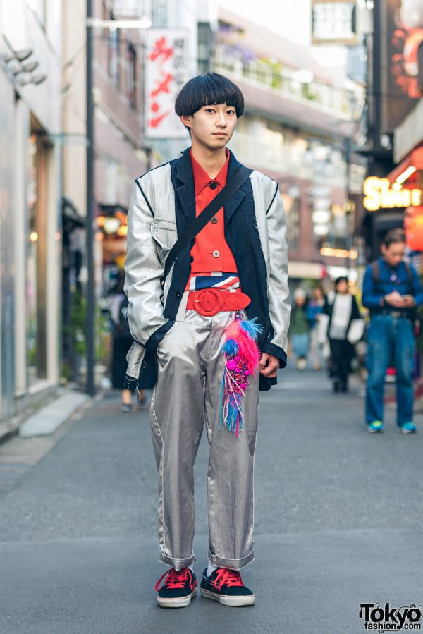Japanese Street Style w/ Silver Comme des Garcons Homme x Jean Paul Gaultier Suit, Yohji & Kenzo