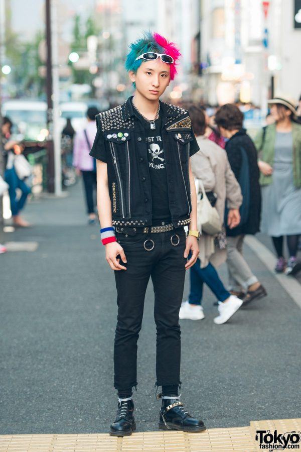 Punk Street Style in Tokyo w/ Studded The Clash Vest & Dr. Martens Boots