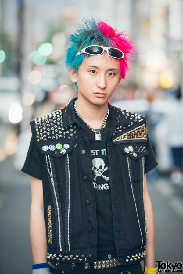 Punk Street Style In Tokyo W Studded The Clash Vest Amp Dr