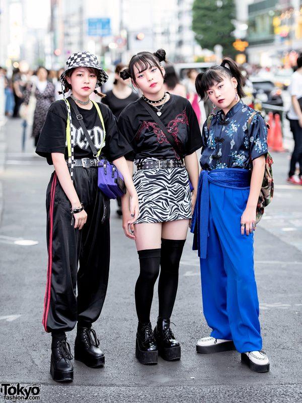 Harajuku Girls w/ Faith Tokyo Crossbody Bags, Funktique Top, Zebra Miniskirt & Platform Boots