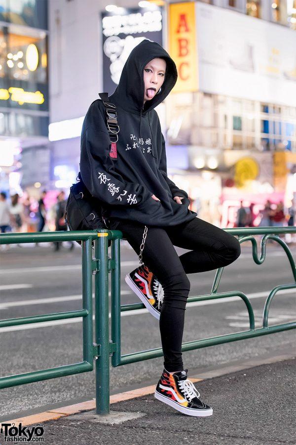 Frameout Japan Designer in Harajuku w/ Kanji Print Hoodie, Elephant Tribal Fabrics Bag & Flame Sk8-Hi Vans