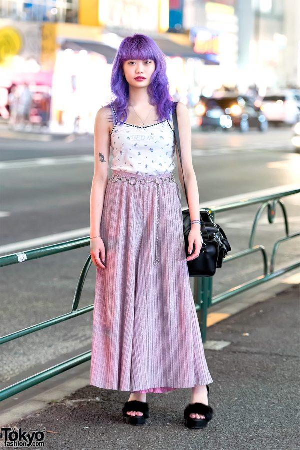 Elleanor in Harajuku w/ Purple Hair, Oh Pearl Top, WC Skirt, Bubbles Sandals & Grafea Bag