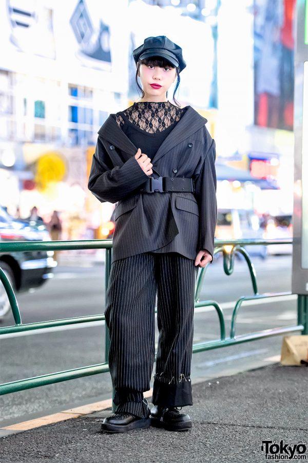 Harajuku Girl in Vintage Belted Blazer w/ Shoulder Pads, Remake Pinstripe Pants & Platform Creepers