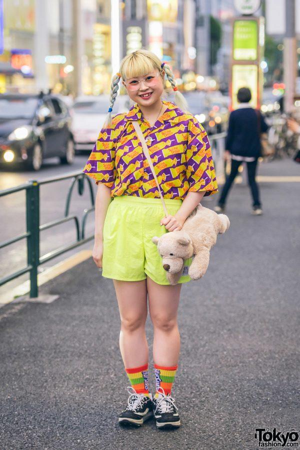 Colorful Fun Harajuku Fashion w/ Sugar Daddy Candy Shirt, Life Savers Rainbow Socks & WEGO Bear Plushie Bag
