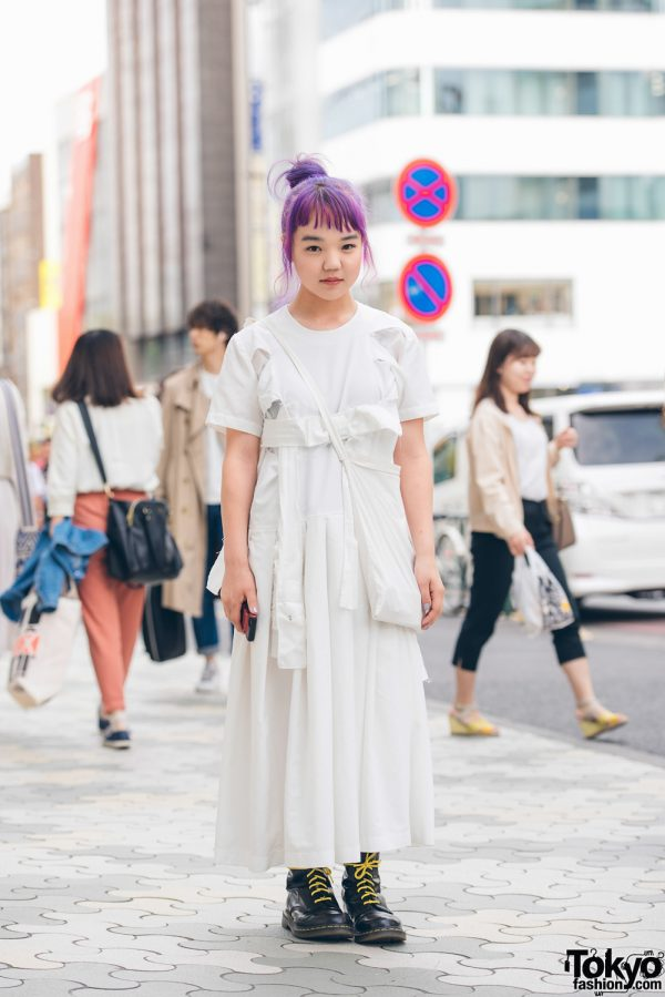 Minimalist Monochrome Fashion in Harajuku w/ Comme des Garcons Dress & Dr. Martens Boots