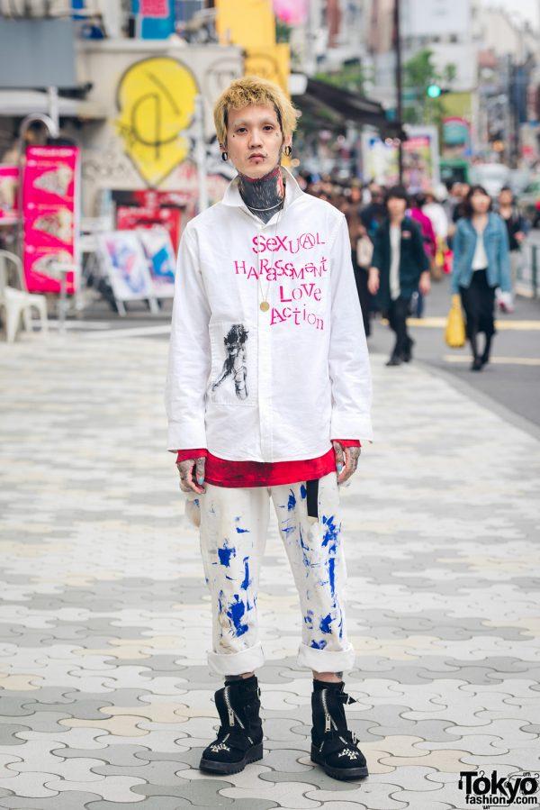 Tattooed Japanese Bass Player in Harajuku w/ Anarchy Shirt, Cyber Dyne & Heroine