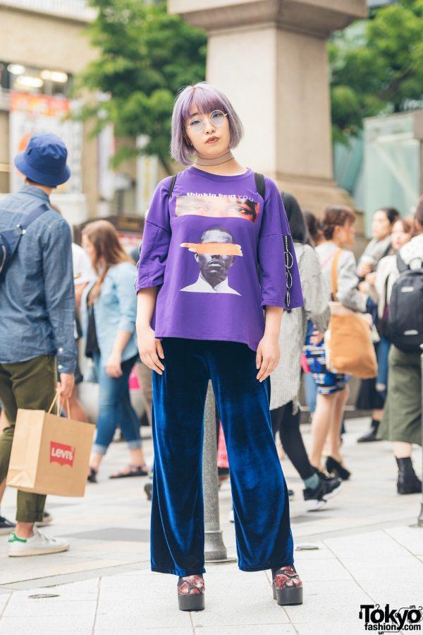 Harajuku Girl in Purple Hair & Shirt Style w/ 777 Velvet Pants & Forever 21 Backpack