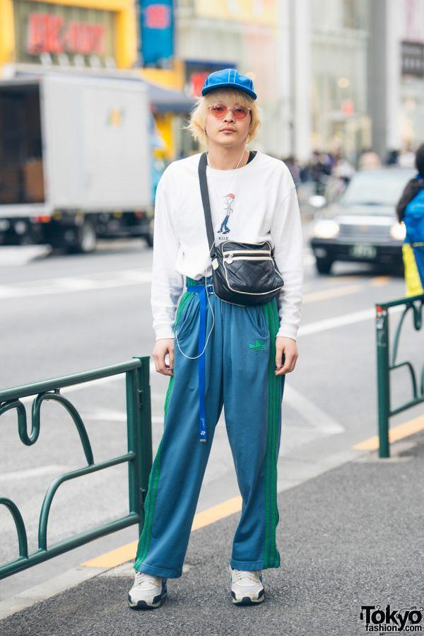 Sporty Streetwear w/ Kodona Sweater & Dude Harajuku Track Pants & Vintage Fashion