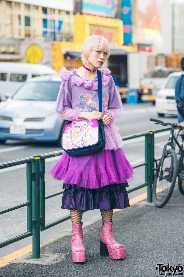 Pink-Haired Harajuku Guy in Sheer Top & Tiered Skirt w/ Kinji, WEGO & Pokemon Bag