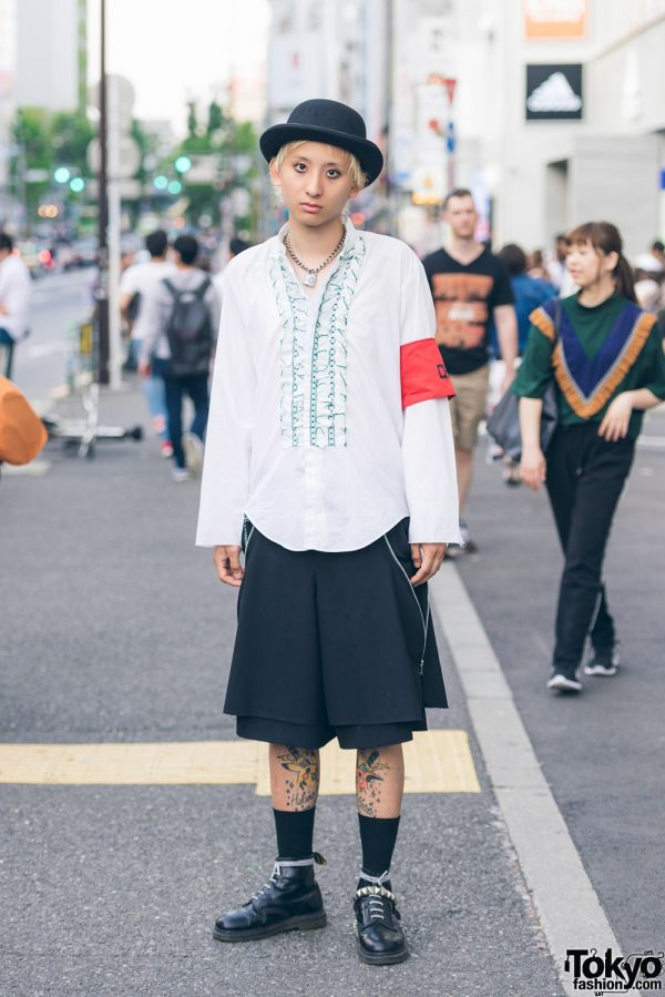 Punk Street Style w/ Ruffle Shirt, Comme des Garcons Skirt & Dr. Martens Ankle Boots