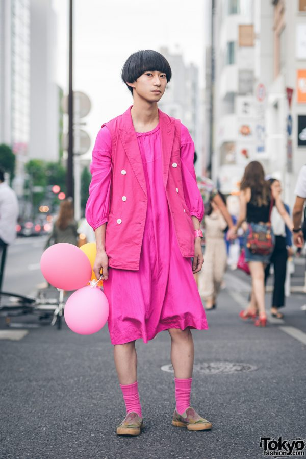 All Pink Harajuku Menswear Street Style w/ Comme des Garcons & Dior