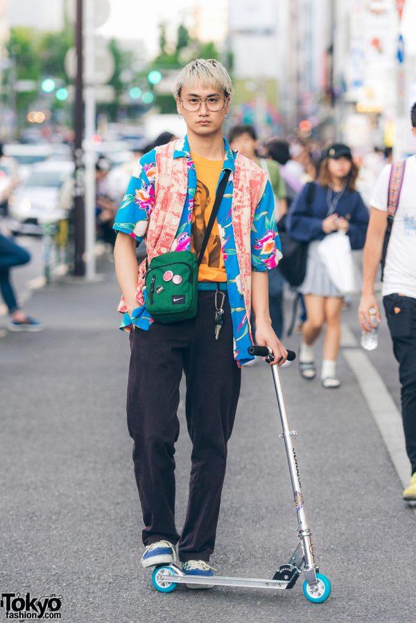 Blonde-Haired Harajuku Guy in Layered Street Fashion w/ Vans, Comme des Garcons, Prada & Nike