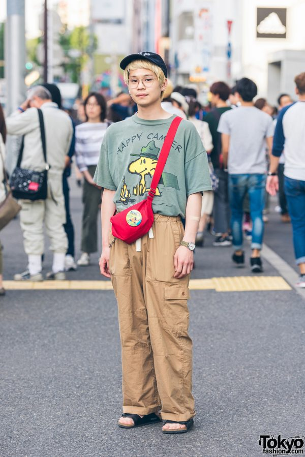 Resale Street Style in Harajuku w/ Snoopy, Birkenstock Sandals & Gap Cap
