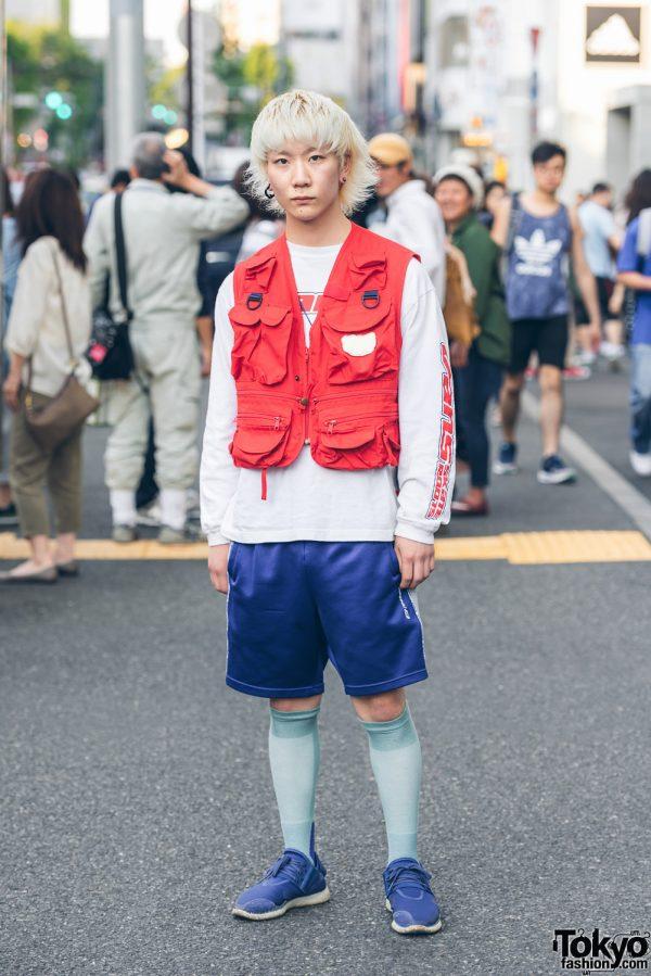 Blonde Harajuku Guy in Sportswear Street Fashion w/ Y-3, Reebok, Vans & Resale Pocket Vest