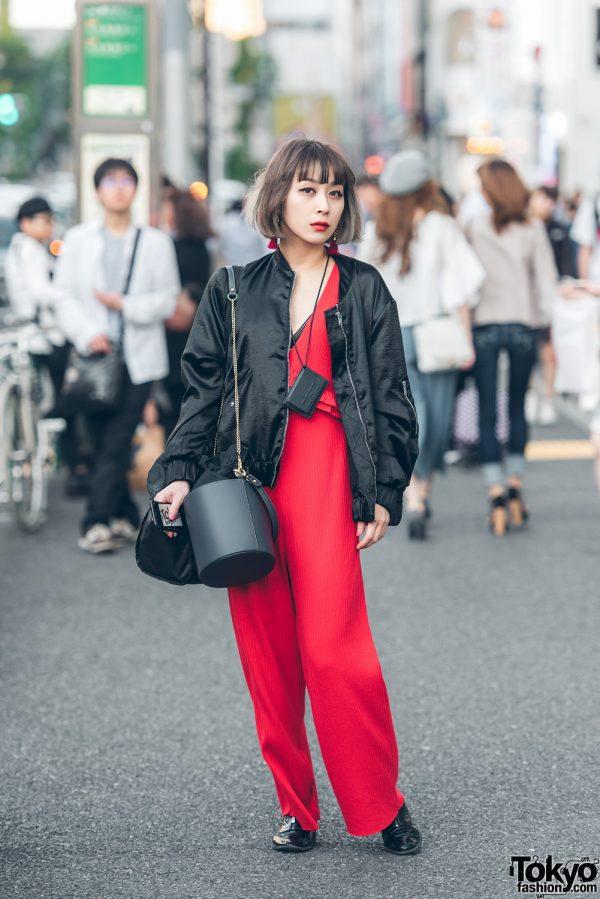 Japanese Dancer in Harajuku w/ Red Pantsuit, Vintage Zipper Boots & Grimoire Tassel Earrings