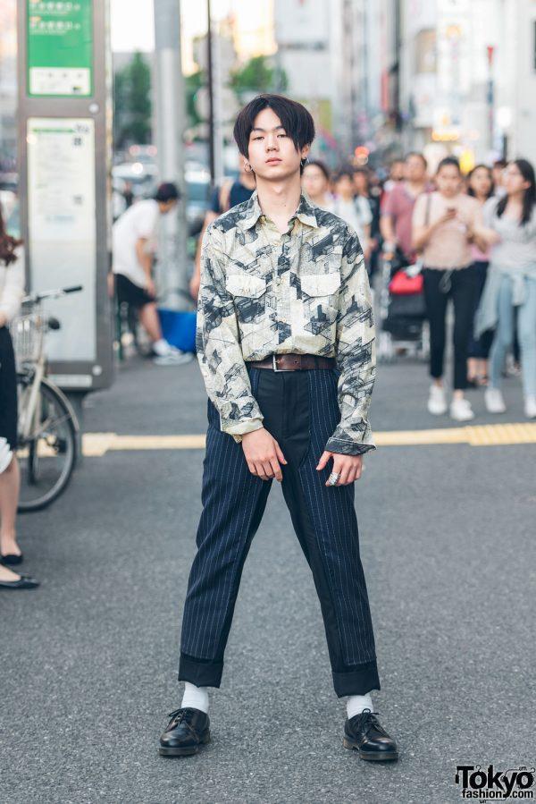 Harajuku Guy in Prints & Stripes Streetwear w/ Stussy, Comme des Garcons, Dr. Martens & Vivienne Westwood