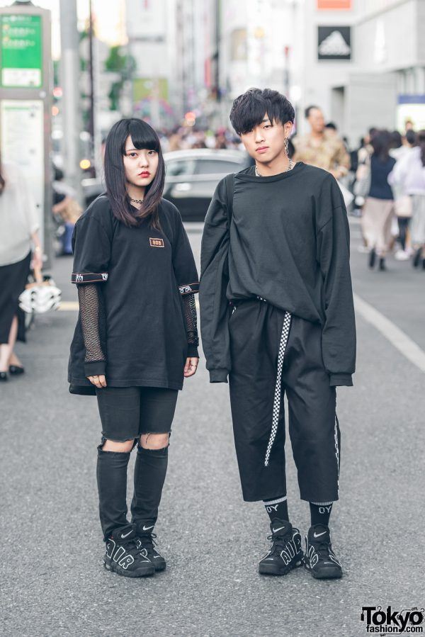 All Black Harajuku Streetwear w/ Never Mind the XU, From K to All, Vei-8 & Nike Air More UpTempo