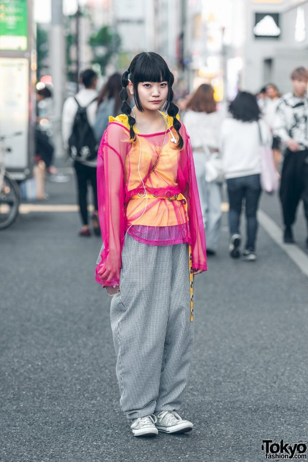 Twin-Tailed Harajuku Girl in Southpaw Cathy Remake Street Fashion w/ Sheer Top, Checkered Pants, WC & Converse