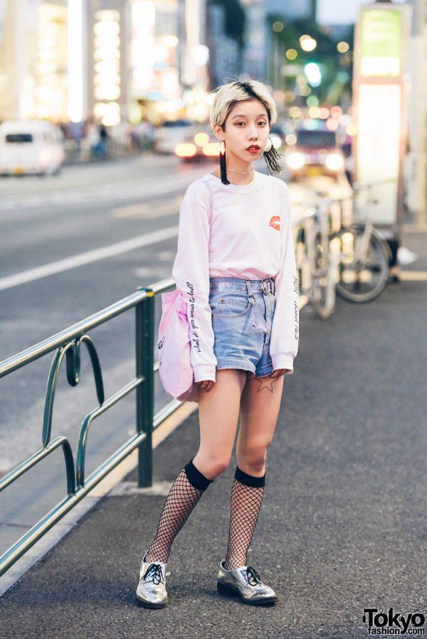 Pixie-Haired Japanese Hair Stylist in Harajuku w/ Vintage Cutoff Shorts & Biddie Tokyo Sweatshirt