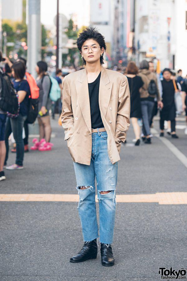 Distressed Denim Menswear Fashion in Harajuku w/ Kenzo, Levi's & Hard Cover