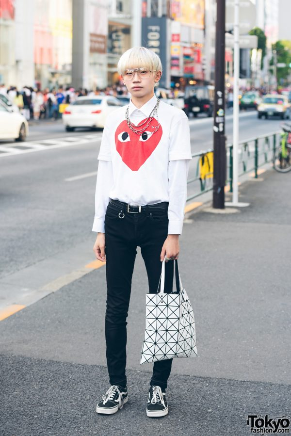 Platinum-Haired Harajuku Guy in Comme des Garcons Play, Uniqlo, Vans, Never Mind the XU & Issey Miyake