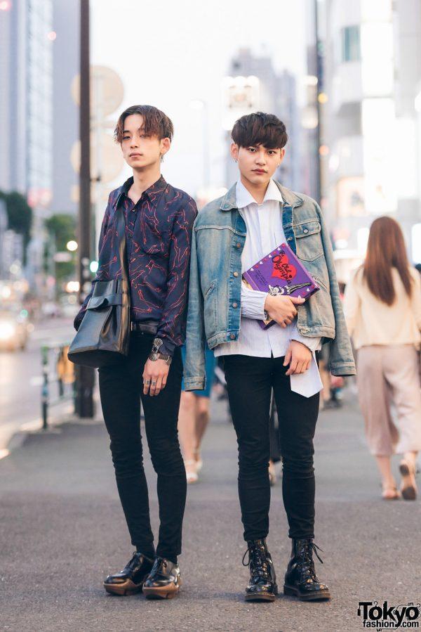 Harajuku Guys in Skinny Jeans w/ Olympia Le-Tan, Dries Van Noten, Prada, Louis Vuitton, Toga, Kenson, Acne Studios & Dr. Martens