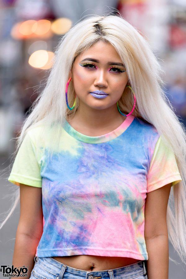 Harajuku Gal W Rainbow Eye Makeup Silver Hair In Anap: Harajuku Gal W/ Rainbow Eye Makeup & Silver Hair In ANAP