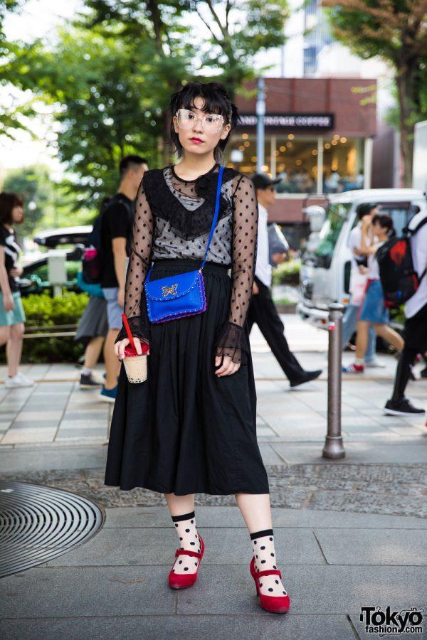 Harajuku Vintage Street Fashion w/ H&M Top, Vintage Midi Skirt, & Baby Doll Shoes