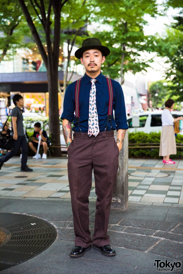 Japanese Barber in Dapper Harajuku Street Style w/ Hat, Suspenders, Dress Shoes & Tattoos