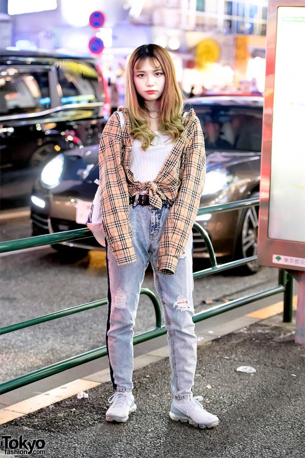 Green Haired Harajuku Girl in Burberry Plaid, O-Ring Choker & UNIF Rainbow Backpack