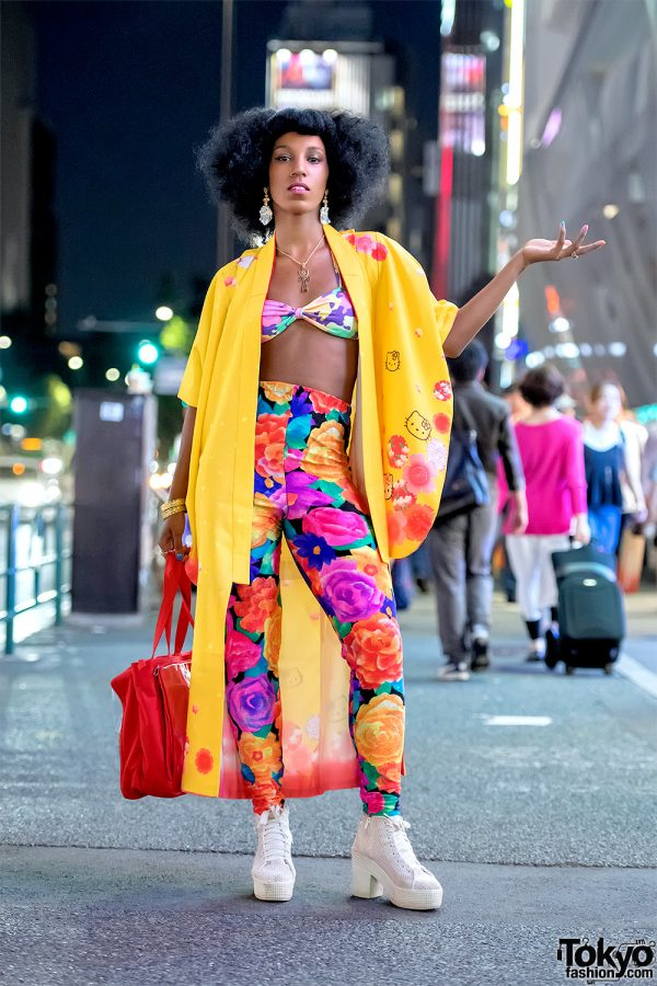 Colorful Harajuku Street Style W Hello Kitty Kimono Jacket Eva B Montreal Vintage Fashion