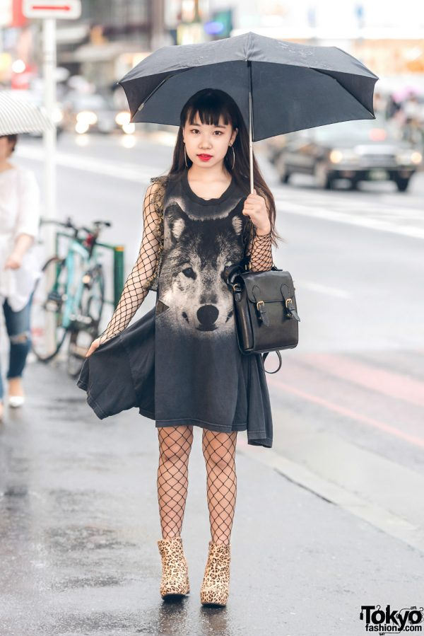 Harajuku Girl in Wolf Dress by Thai Fashion Brand Dry Clean Only & Leopard Booties