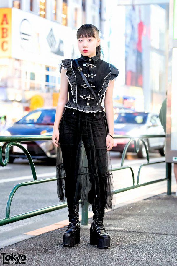 Harajuku Girl's Dark Street Style w/ MYOB Fireman Denim Top, Sheer Skirt & Dolls Kill Platform Boots