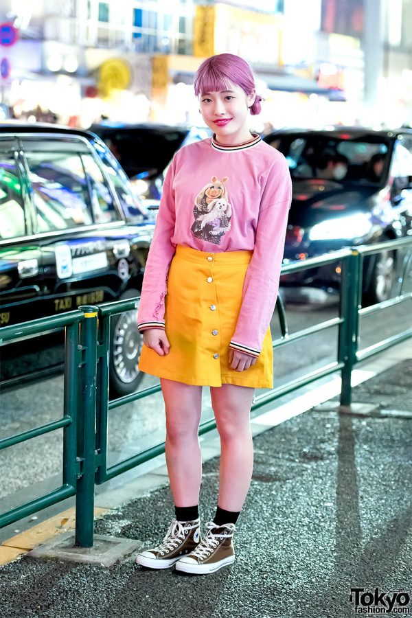 Harajuku Girl in Little Sunny Bite x Muppets Top, Dickies, Converse & Handmade Fashion