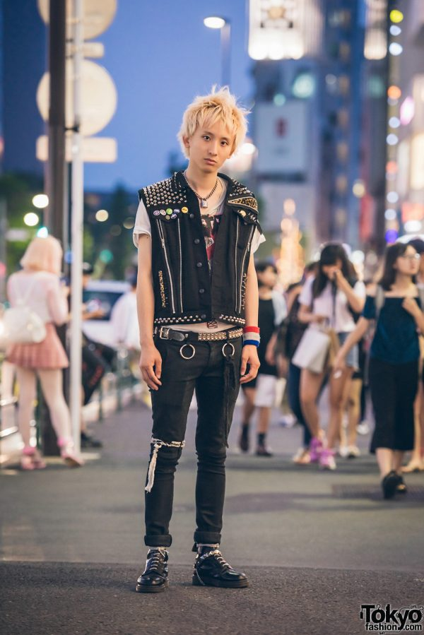 Harajuku Punk in Black Street Fashion w/ The Clash Studded Vest, 99%IS- & Dr. Martens
