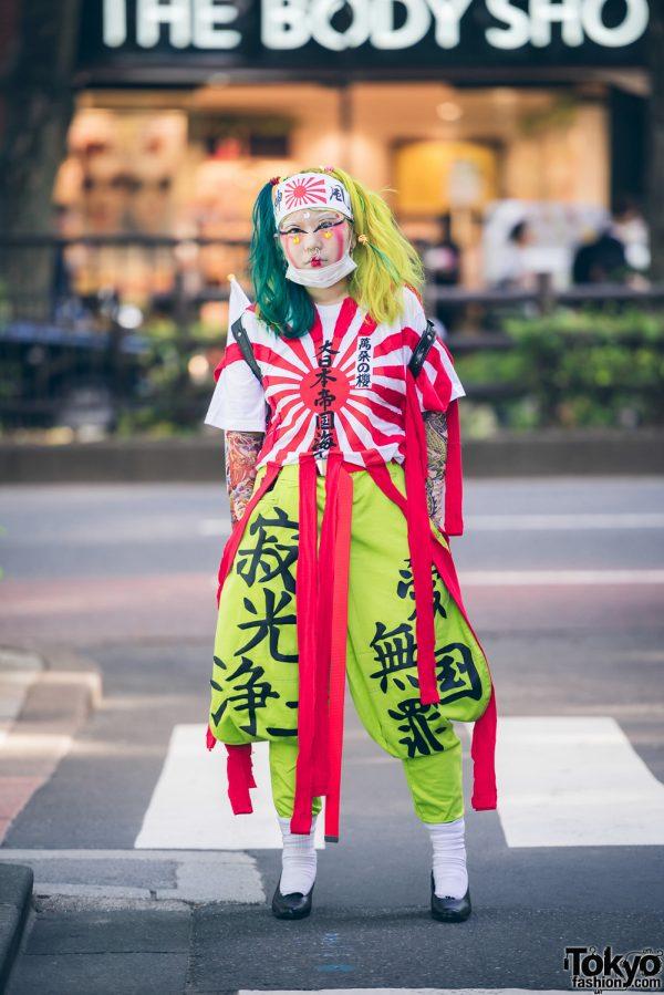 Harajuku Girl in Red & White Outfit w/ Handmade, Remake & Dog Harajuku Fashion