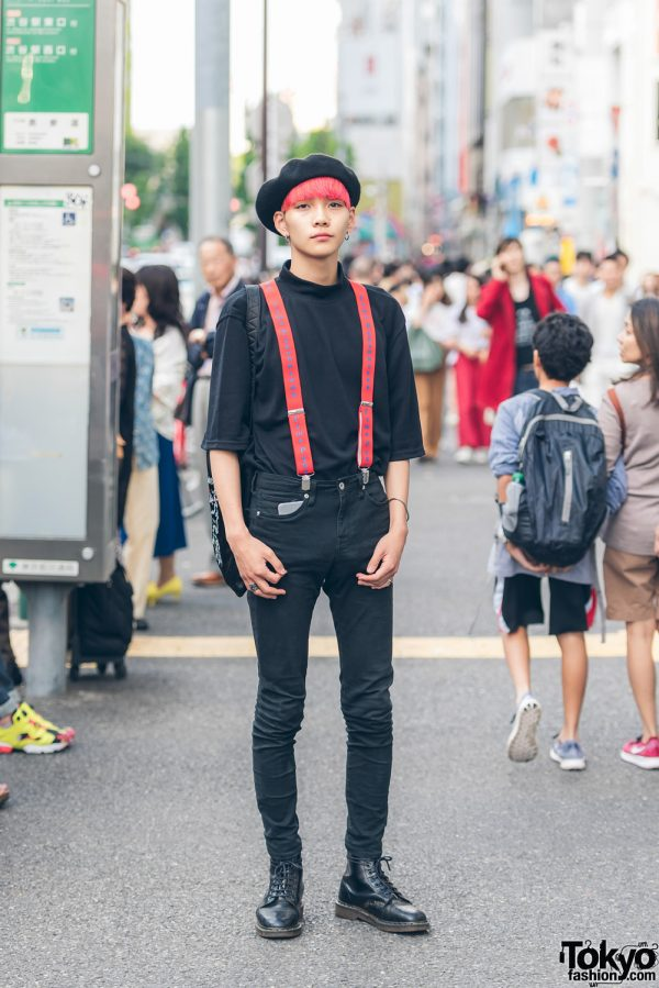 Pink-Haired Harajuku Guy in Black & Red w/ Gosha Rubchinskiy, Who's Who Gallery, Chrome Hearts & Dr. Martens