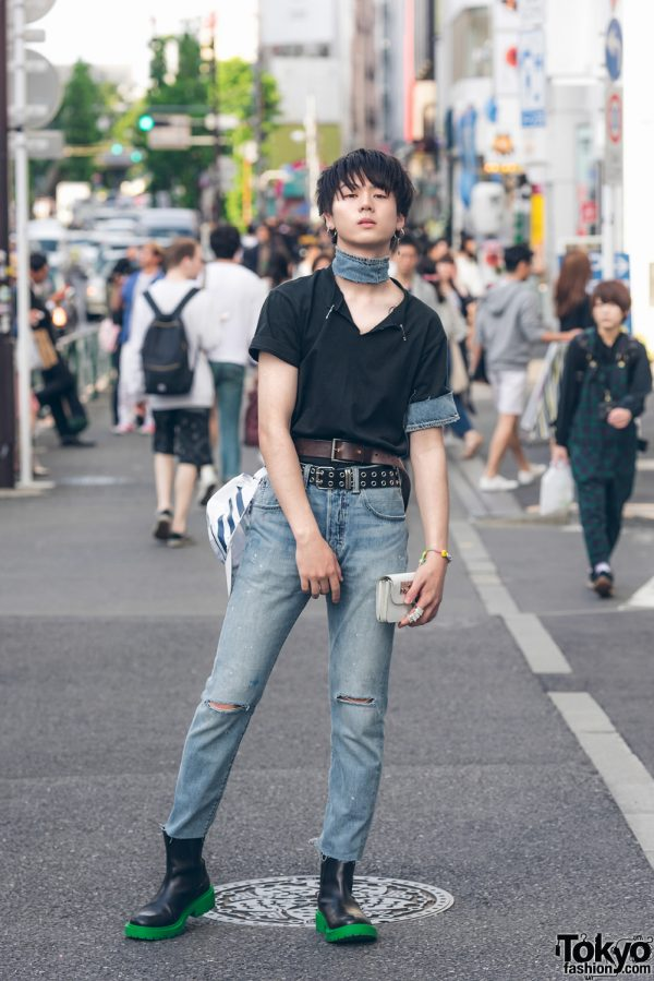 Harajuku Male Model in Denim Street Style w/ Levi's, Kenzo x H&M, Comme des Garcons & Off-White