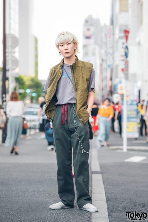 Blonde Harajuku Guy Street Wear Look w/ Stussy, Mont-Bell, Dickies, Vans & Y-3