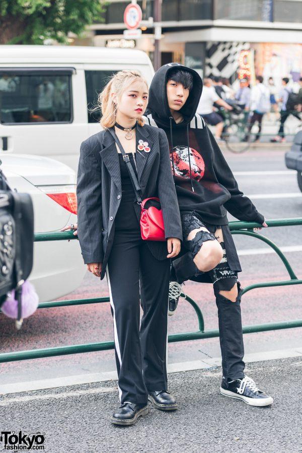 Harajuku Duo in All Black Vintage & DIY Fashion w/ Dr. Martens, 99%IS-, Mezzo Piano, Converse & Tokyo Human Experiments