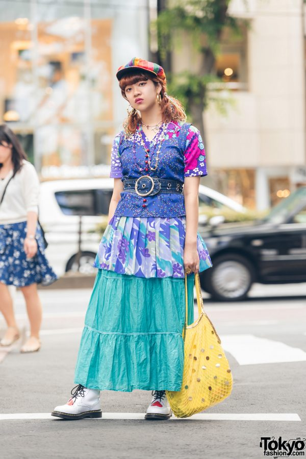 Colorful Printed & Layered Vintage Fashion in Harajuku w/ Kinji, Petit Cochon, Dr. Martens, Hard Off & Juxtaposition