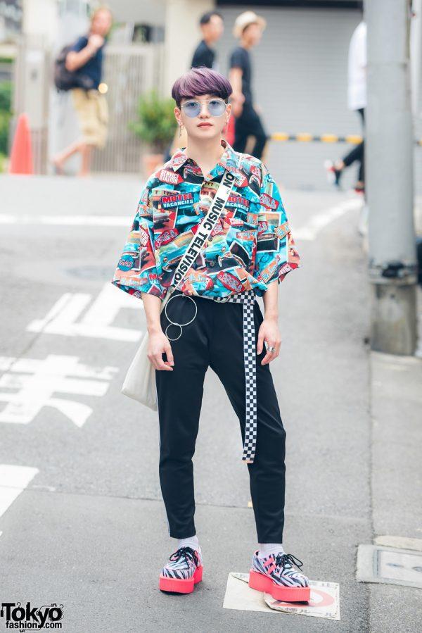 Purple-Haired Harajuku Guy in Print Shirt, Checkered Belt, MTV Bag & Neon Zebra Creepers