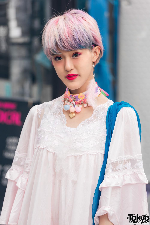 Harajuku Girl In Sheer Lace Dress Style W Kinji Ding