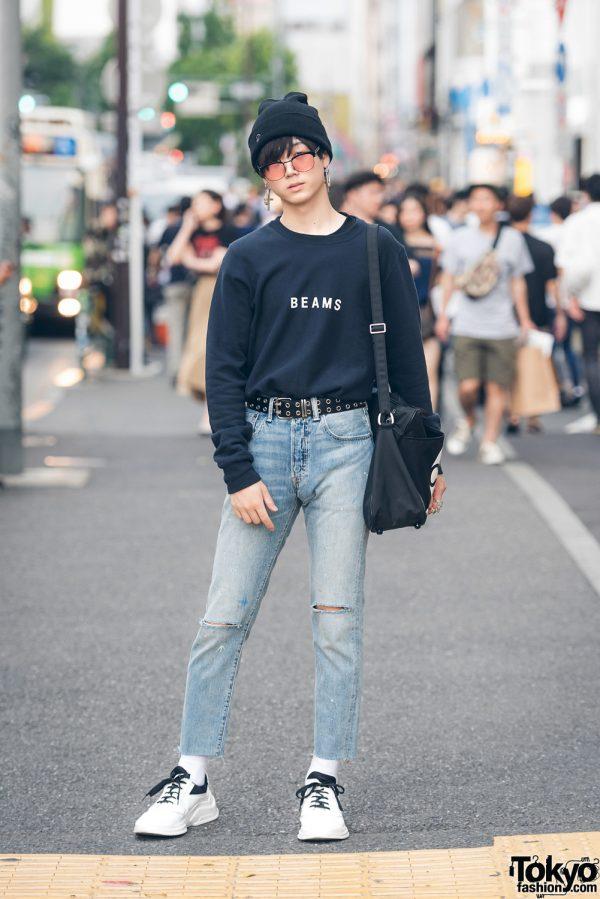 Harajuku Streetwear Look w/ Beams Sweatshirt, Levi's, Prada Sneakers, CDG Bag & YSL
