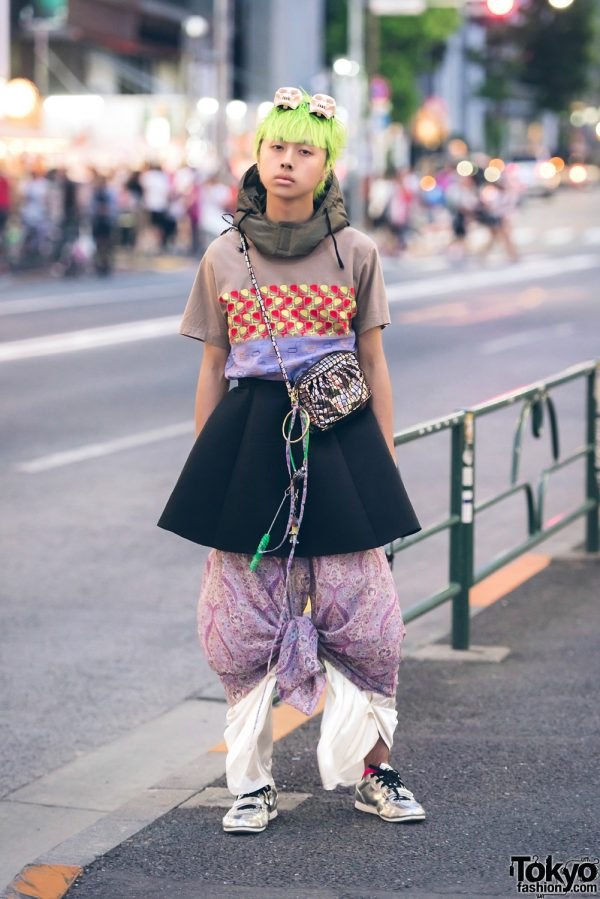 Green-Haired Guy in Eclectic Layered Resale Fashion w/ Haruno Shibuya & Comme des Garcons